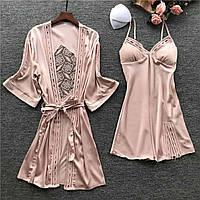 Комплект шелковый пеньюар и ночная рубашка розовый размер 44
