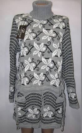 Женский свитер большого размера Листок, 52-54 р, серый, фото 2