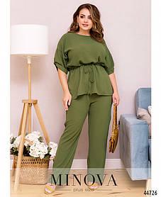 Легкий женский костюм с брюками хаки на лето 2021, большие размеры от 50 до 68