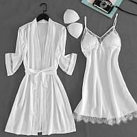Комплект шелковый пеньюар и ночная рубашка белый размер 48