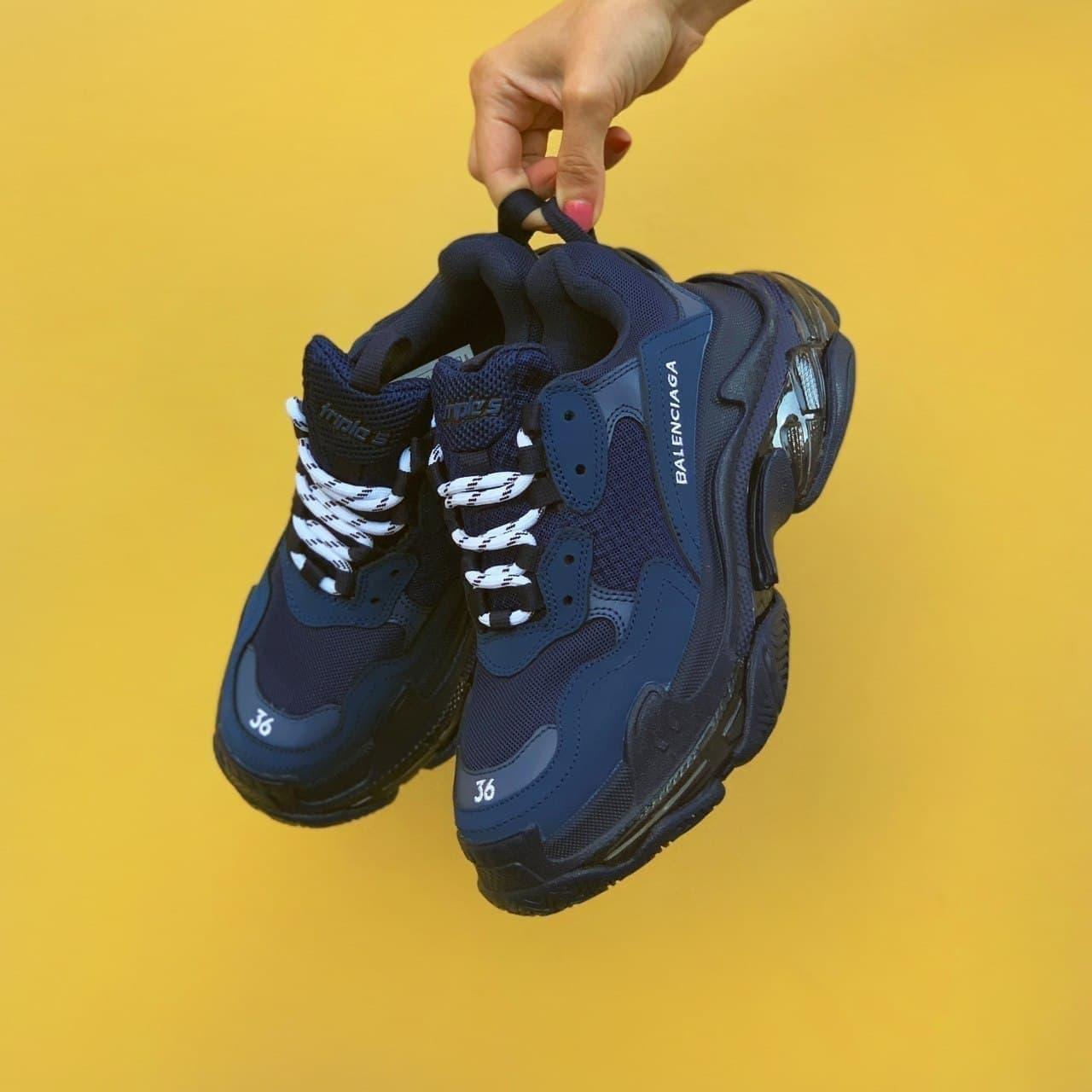 Жіночі Кросівки Balenciaga Triple S Clear Sole Navy Blue