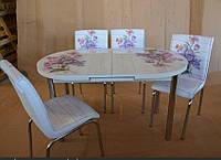 """Розкладний обідній кухонний комплект овальний стіл і стільці """"Фіолетовий букет"""" ДСП гартоване скло 75*130 Mobilgen"""