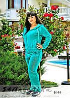 Велюровый женский костюм Адидас большого размера ментол