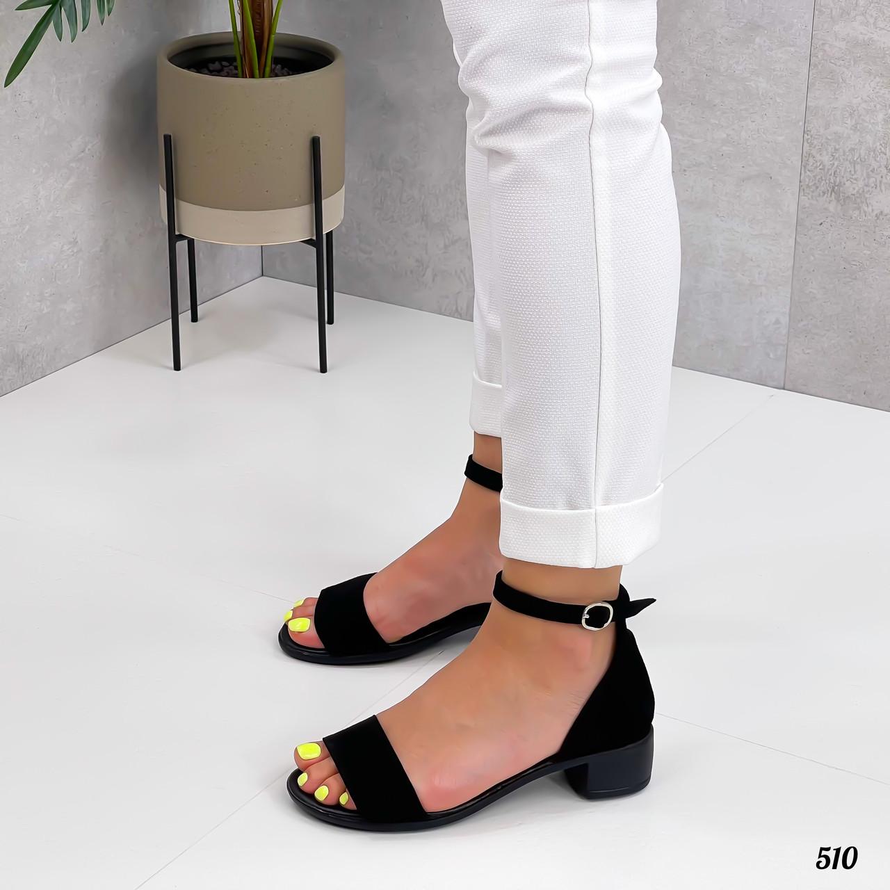 Босоножки женские черные на каблуке натуральная замша