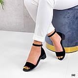 Босоножки женские черные на каблуке натуральная замша, фото 3