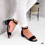 Босоножки женские черные на каблуке натуральная замша, фото 4