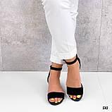 Босоножки женские черные на каблуке натуральная замша, фото 5