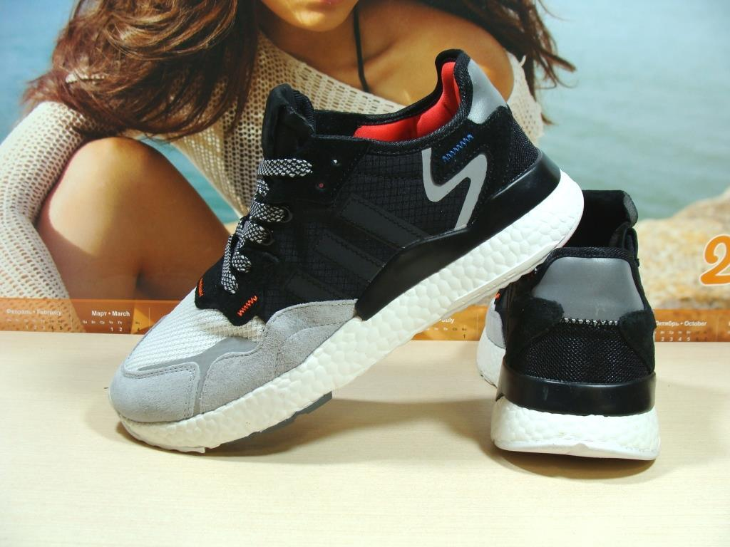 Кроссовки мужские Adidas Nite Jogger Boost 3M серо-черные 46 р.