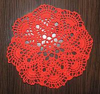 Оригинальный подарок. Салфетка красная, D 23 cm, вязаная крючком, ручная работа.
