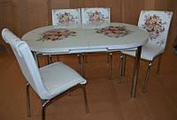 """Розкладний обідній кухонний комплект овальний стіл і стільці """"Контрастний букет"""" ДСП гартоване скло 75*130 Mobilgen"""