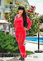 Велюровый женский костюм Адидас большого размера коралл