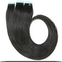 Натуральные Славянские Волосы на Лентах 50 см 100 грамм, Черный №1В