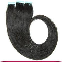 Натуральные Славянские Волосы на Лентах 50 см 100 грамм, Черный №1B