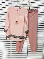 Блузка женская розовая с полосками Modalinda батал 20-4913
