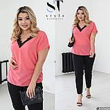 Жіночий брючний костюм літній Штани і блуза Розмір 48 50 52 54 56 58 60 62 В наявності 3 кольори, фото 3