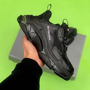 Мужские кроссовки Balenciaga Triple S Clear Sole Leather Black