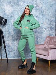 Теплий спортивний костюм з шапкою кольору фісташка від YuLiYa Сһимасһепко