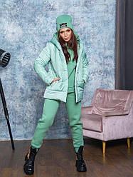 Теплий костюм:куртка,спортивний костюм,шапка кольору м'ята від YuLiYa Сһимасһепко