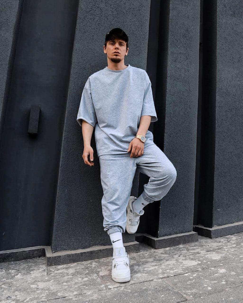 Спортивний костюм Чоловічий спортивний комплект / чоловічий комплект штани+футболка світлий