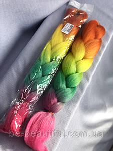 Канекалон для плетения волос цвет оранжево/желто/зелено/малиновый 130 см