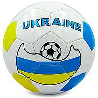Мяч футбольный №5 PU ламин. Сшит маш. способом UKRAINE (№5, 5сл., белый-желтый-голубой)