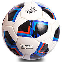 Мяч футбольный №5 PU ламин. FB-0710 (№5, 5 сл., сшит вручную, белый-черный-синий), фото 1