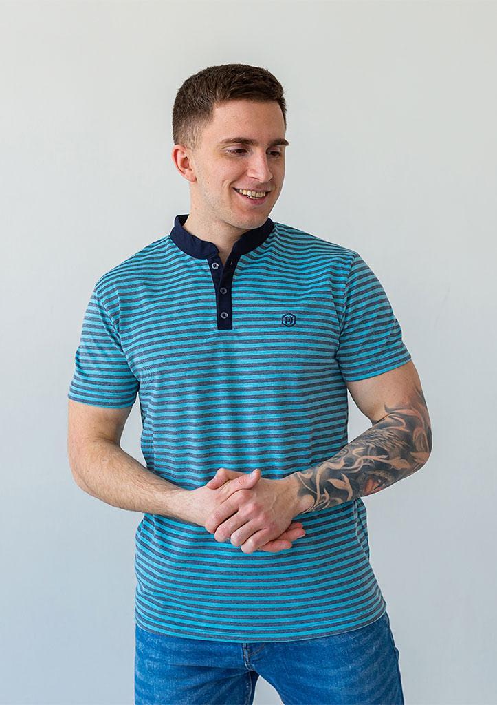 Чоловіча футболка поло стильна річна зі зручною посадкою смугаста зелена з сірим