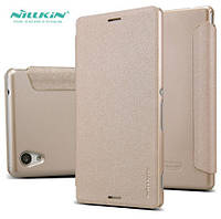Чехол книжка кожаный Nillkin Sparkle Leather Case для Sony Xperia M4 Aqua DS E2312 Champaign Gold
