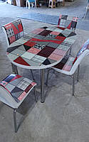 """Розкладний обідній кухонний комплект овальний стіл і стільці """"Червона мозаїка"""" ДСП гартоване скло 75*130 Mobilgen"""