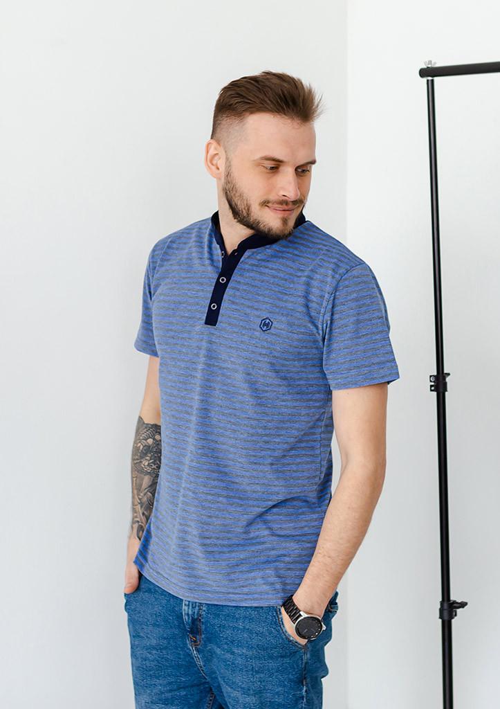 Футболка-поло мужская летняя стильная с коротким рукавом полосатая cиняя с серым