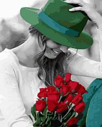 Картина по номерам Mariposa Девушка в зеленой шляпе (MR-Q2268) 40 х 50 см