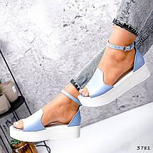 Босоніжки жіночі шкіряні колір блакитний, фото 3