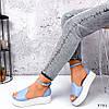 Босоніжки жіночі шкіряні колір блакитний, фото 2