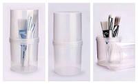 Подставка-стакан для кистей с перегородкой и крышкой
