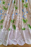 Гардина біла коротка з кольоровим узором висотою 1.20 м., фото 1