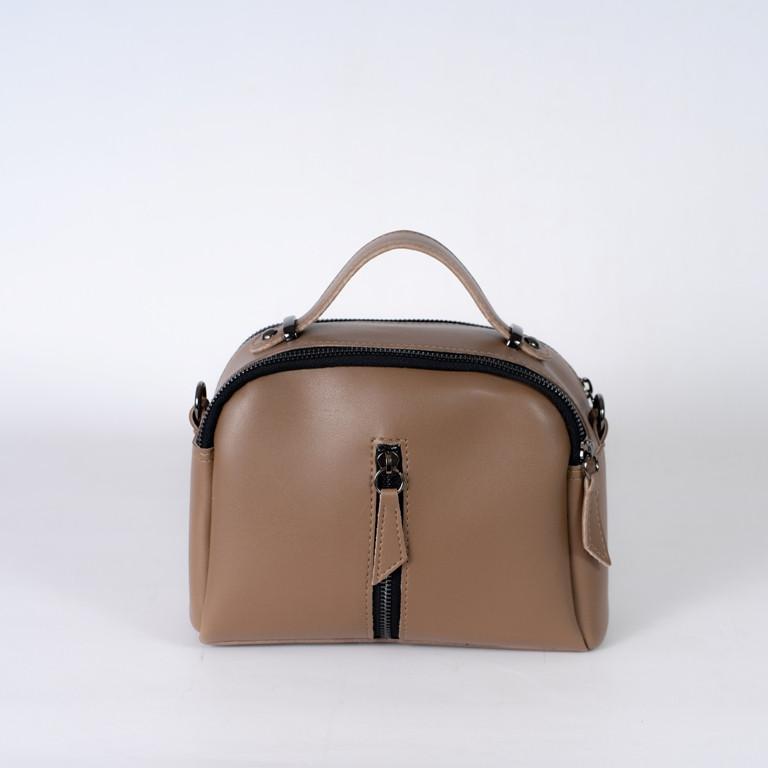 Коричнева жіноча міні сумка K08-20/1 крос-боді маленька через плече два відділення