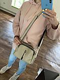 Коричнева жіноча міні сумка K08-20/1 крос-боді маленька через плече два відділення, фото 4