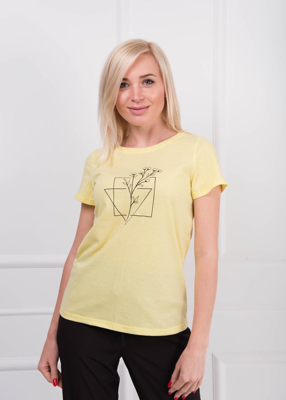 Футболка женская с печатью Цветы желтая