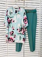 Блузка женская бирюзовая с цветами Jeanne DArc 20-20801