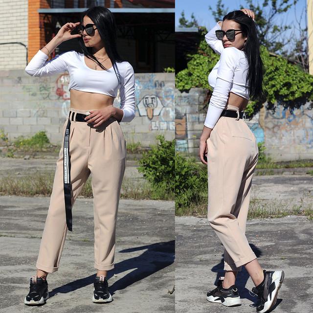 Женские брюки на высокой посадке бежевого цвета
