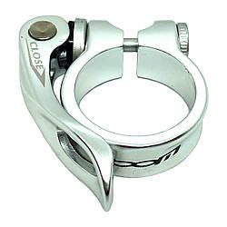 Хомут підсідельний ZOOM сріблястий з ексцентриком 35 мм