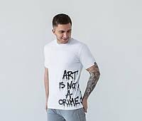 Мужская футболка молодежная белая с логотипом