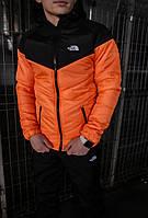 Куртка мужская осенняя / весенняя The North Face оранжевая черная утепленная ТНФ TNF Демисезонная ветровка