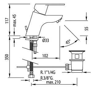 Змішувач для умивальника TRES BM 139102, фото 2