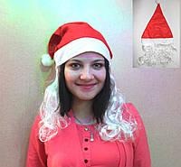 Новогодняя шапка Снегурочки с волосами