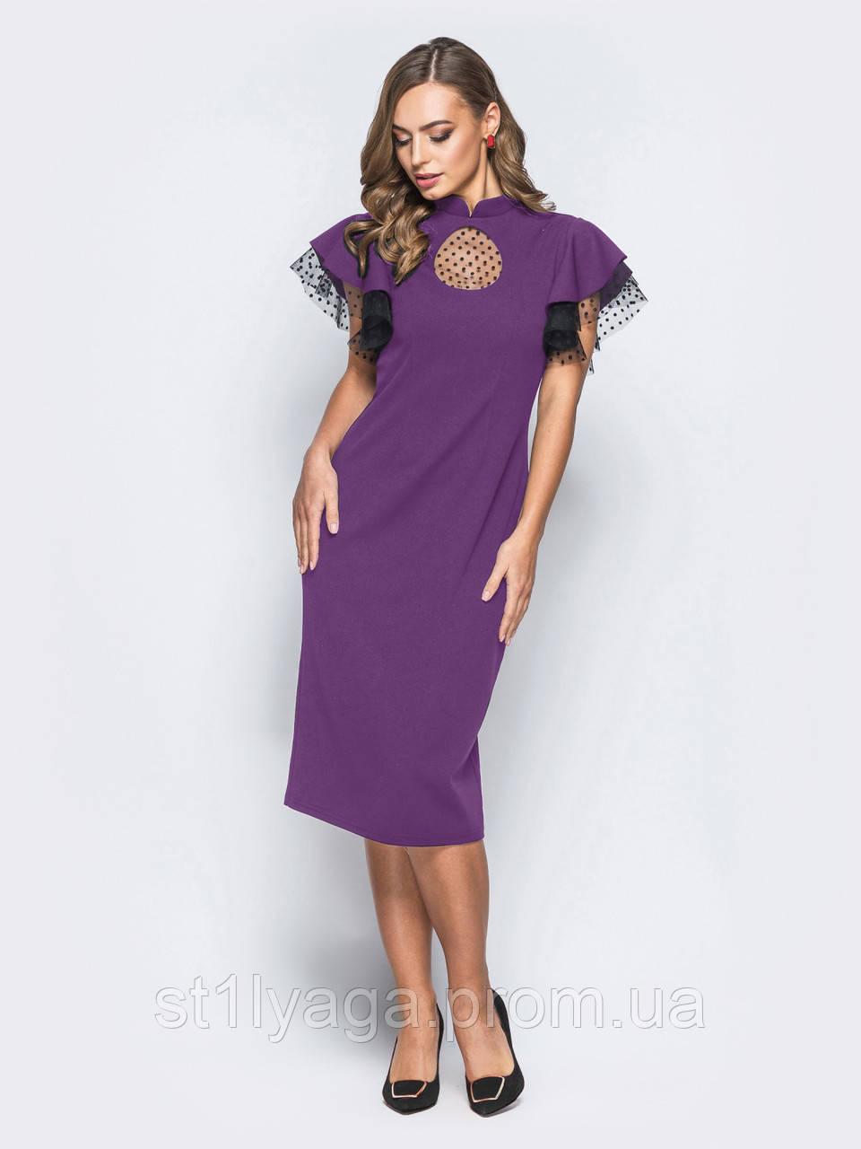 Екстравагантне плаття-міді з вирізом «крапля» на поличці і короткими рукавами рожеве