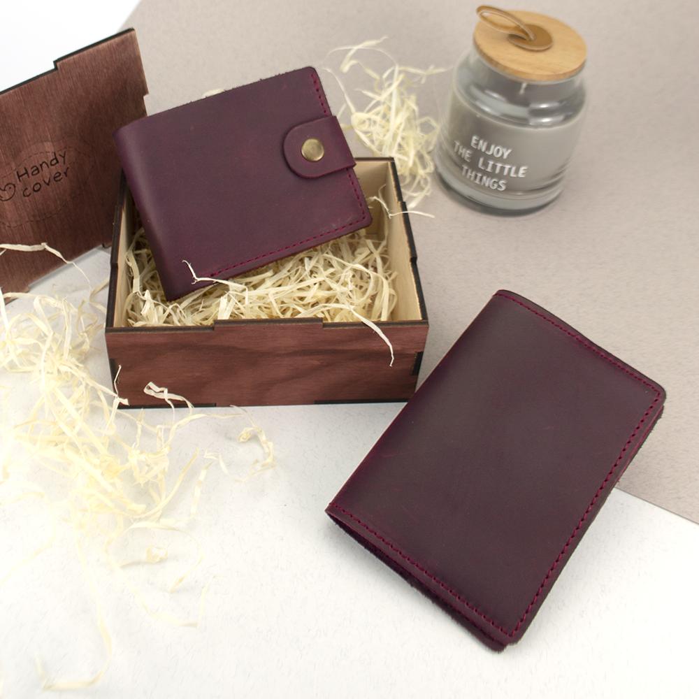Подарунковий набір жіночий Handycover №47 (бордовий) гаманець і обкладинка на паспорт в коробці