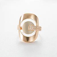 Золотое кольцо широкое с фианитами КП934