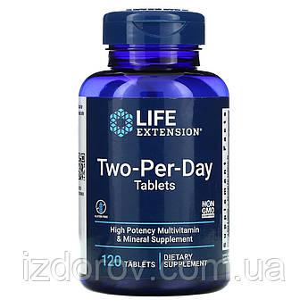 Life Extension, Two-per-Day, Двічі в день, мультивітамінний комплекс, 120 таблеток