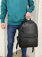 Мужской кожаный черный рюкзак Tommy Hilfiger Городской Повседневный Классический портфель Томми Хилфигер